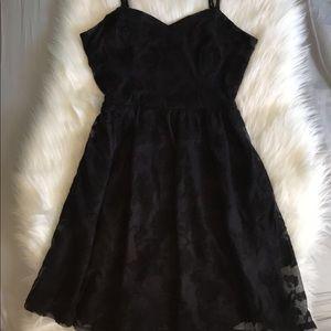 Love Fire Black Lace Strappy Skater Dress